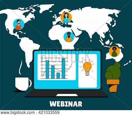 Webinar Advertising Poster. Online Training. Video Conferencing.