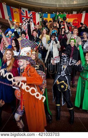 Kiev, Ukraine - May 6, 2017: Kiev Comic Con, An Annual Convention Of Fandoms In Kiev, Ukraine. Cospl