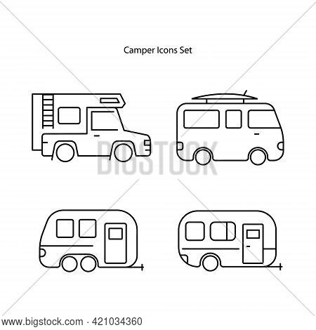 Camper Icons Set Isolated On White Background, Camper Icon Trendy And Modern Camper Symbol For Logo,