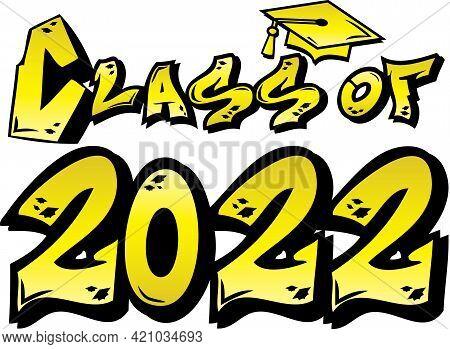 Yellow Gold Class Of 2022 Graffiti Logo Graphic