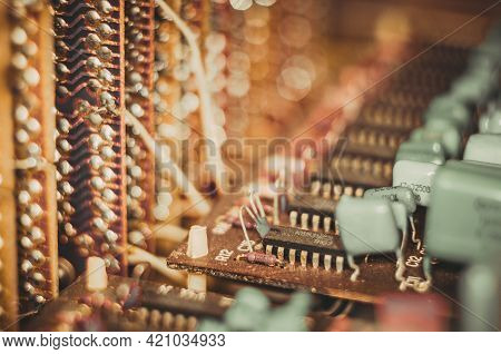 Vintage Electronic Circuit Boards With Radio Parts And Chips, Close-up, Macro Photo