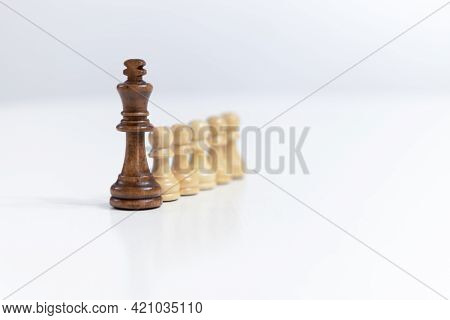Planning Strategy With Chess Figures On White Table Copy Space For Text