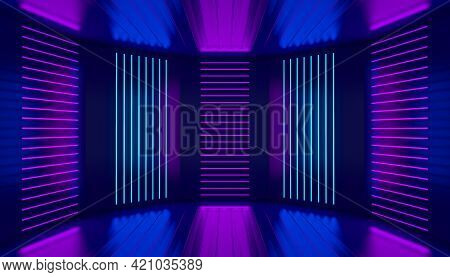 Pink Violet Blue Neon Room Abstract Background. Ultraviolet Podium Decoration Empty Stage. Glowing W