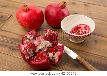 View on the arils of a fresh pomegranate