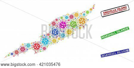 Vector Contagious Mosaic Anguilla Island Map, And Grunge Marshall Islands Seals. Vector Vibrant Angu