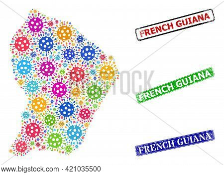 Vector Virus Collage French Guiana Map, And Grunge French Guiana Stamps. Vector Multi-colored French