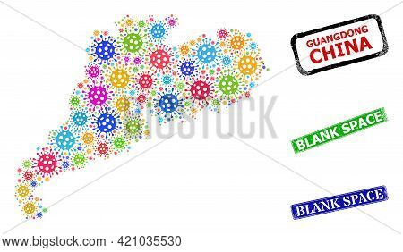 Vector Virulent Mosaic Guangdong Province Map, And Grunge Blank Space Seal Stamps. Vector Colored Gu