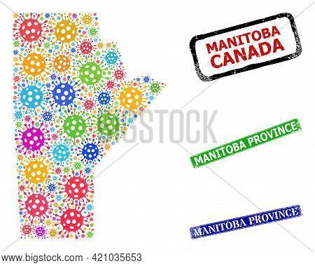 Vector Virulent Mosaic Manitoba Province Map, And Grunge Manitoba Province Seal Stamps. Vector Color