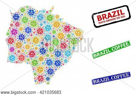 Vector Viral Mosaic Mato Grosso Do Sul State Map, And Grunge Brazil Coffee Seals. Vector Colorful Ma