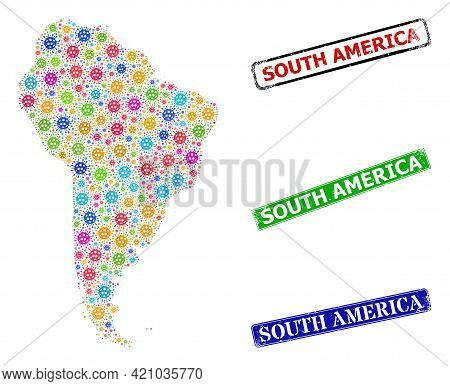 Vector Coronavirus Mosaic South America Map, And Grunge South America Seal Stamps. Vector Colorful S