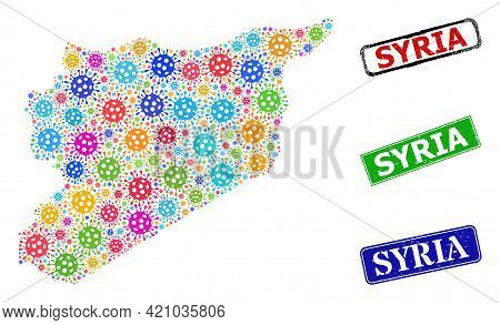 Vector Viral Mosaic Syria Map, And Grunge Syria Stamps. Vector Colored Syria Map Mosaic, And Syria S