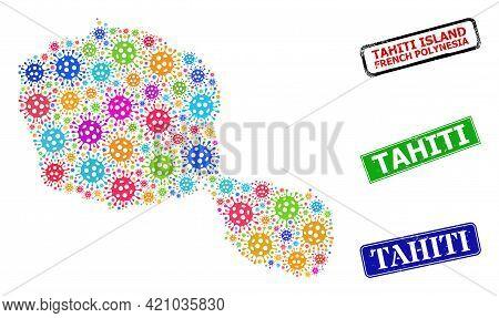 Vector Bacterium Collage Tahiti Island Map, And Grunge Tahiti Seals. Vector Multi-colored Tahiti Isl