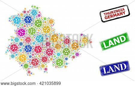 Vector Covid Mosaic Thuringia Land Map, And Grunge Land Badges. Vector Colored Thuringia Land Map Mo