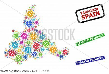 Vector Bacterium Mosaic Zaragoza Province Map, And Grunge Spanish Product Badges. Vector Colored Zar
