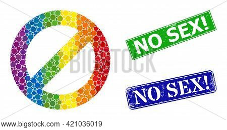 Spectral Colored Gradient Round Dot Mosaic Deny, And No Sex Exclamation Scratched Framed Rectangle S