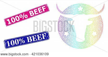 Rainbow Vibrant Mesh American Bull Logo, And 100 Percent Beef Corroded Framed Rectangle Stamps. Pink