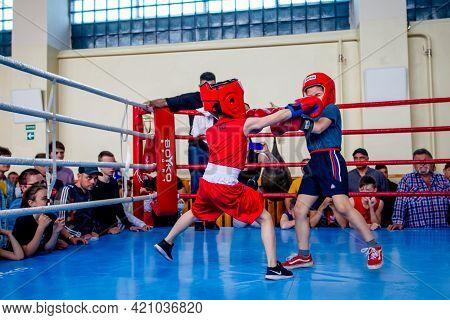 Odessa, Ukraine, May 15, 2021: Boxing Tournaments Among Children. Children's Boxing, Children's Spor