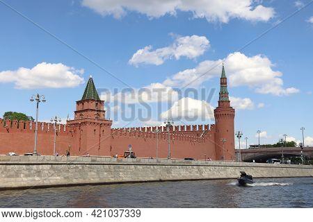 Petrovskaya And Beklemishevskaya Towers Of The Moscow Kremlin, Moscow River And Kremlin Embankment,