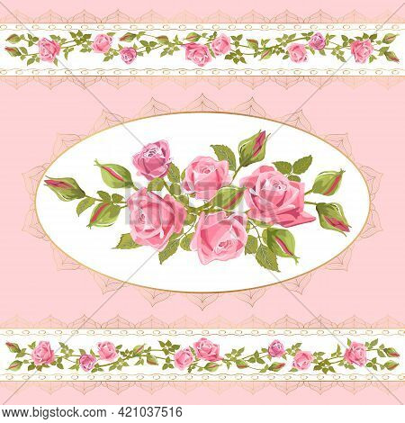 Openwork Frames With Roses In The Illustration.vector Illustration With Beautiful Roses In Openwork