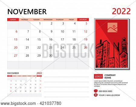 Calendar Planner 2022 And Set Of 12 Months, November 2022 Template, Week Start On Sunday, Desk Calen