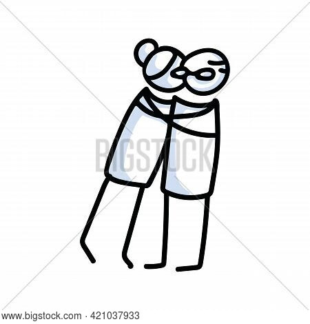 Drawn Stick Figure Of Senior Woman Hugging Senior Man. Elderly Embrace Together Support Illustrated