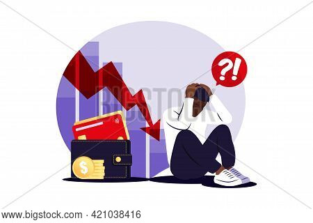 Depressed Sad African Man Thinking Over Problems. Bankruptcy, Loss, Crisis, Trouble Concept. Vector