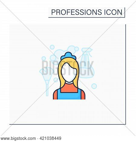 Maid Color Icon. Housemaid, Maidservant. Female Domestic Worker.cleans Service.important Job. Profes