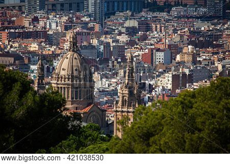 Barcelona, Spain - October 28, 2015: Panoramic Cityscape Of Barcelona (spain) With Catalunya Nationa