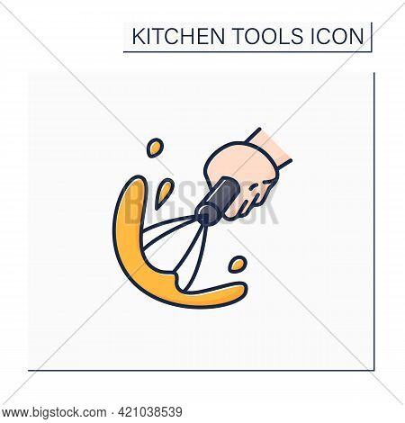 Whisk Color Icon. Whipping Cream, Mousse Manual Device. Cooking Utensils. Kitchen Tools Concept. Iso