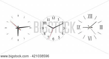 Modern Wall Clock Set With Roman And Arabic Numerals In Minimalism Style.
