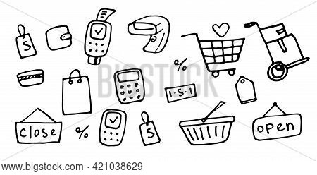 Online Payment.line Art Icon With Doodle Shopping Stores. Doodle Sketch Style.vector Set Of Online S