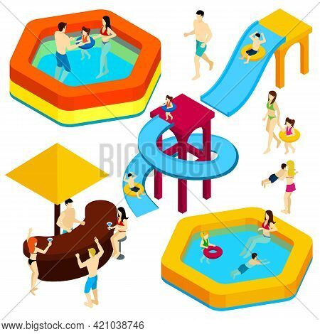 Water Amusement Park Playground With Slides And Splash Pads For Family Fun Isometric Banner Abstract