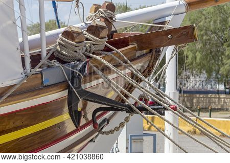 Folded, Old Mooring Cable For Fixing The Vessel To The Berth Or Board Of Another Ship And Anchor Clo