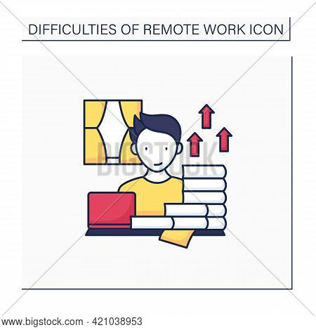 Remote Work Color Icon. Career Advancement Takes Extra Work. Increase Productivity. Many Tasks. Succ