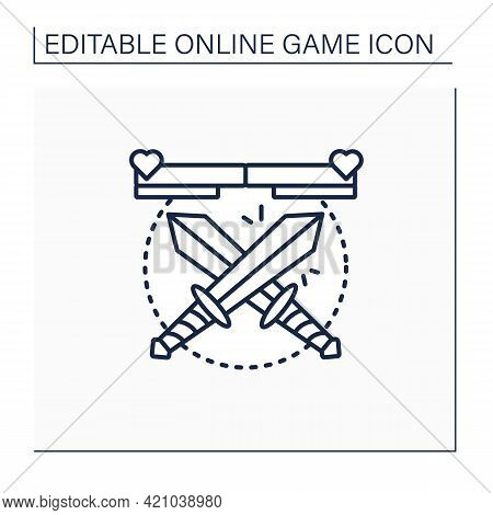 Fighting Game Line Icon. Crossed Swords. Fight In Hand-to-hand Combat Between Rivals. Limited Space,