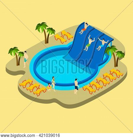 Water Park And Swimming With Palms And Chaise Lounges On Yellow Background Isometric Vector Illustra