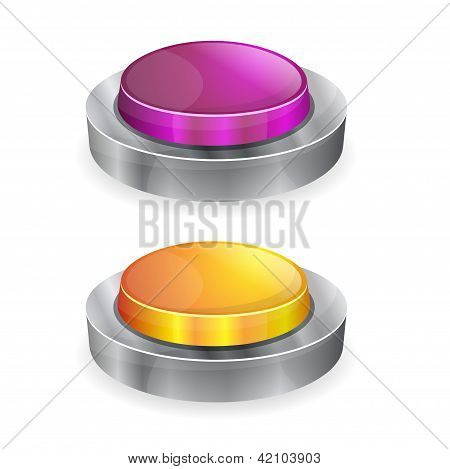3d Glossy Shiny Push Buttons Vector
