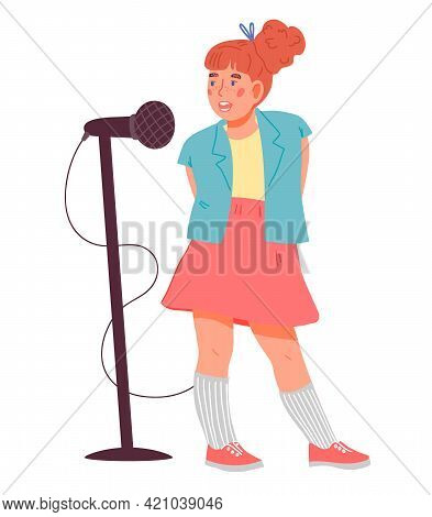 Cute Adorable Child Girl Cartoon Character Singing With Microphone. Personage For Children Music And