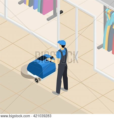 Professional Cleaner At Work At Clothing Department Store In Shopping Mall Center Abstract Isometric