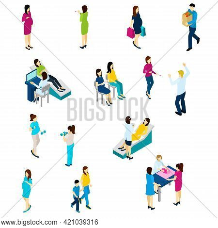 Pregnancy Test Symptoms Diet And Exercising Isometric Icons Collection With Echo Scan And Family Liv