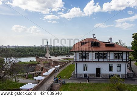 Belgrade, Serbia - May 2, 2021: Kalemegdan Fortress And The Winner Statue In Belgrade, Serbia