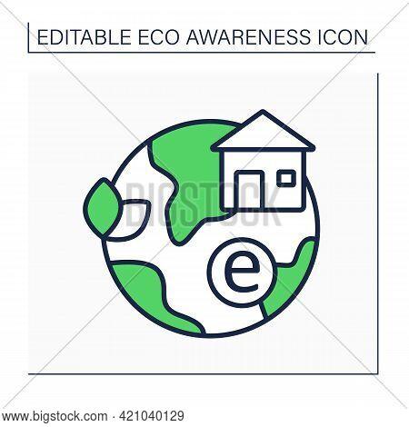 Environmental Club Line Icon. Club Increase Realization Of Environmental Issues. Ecology. Environmen