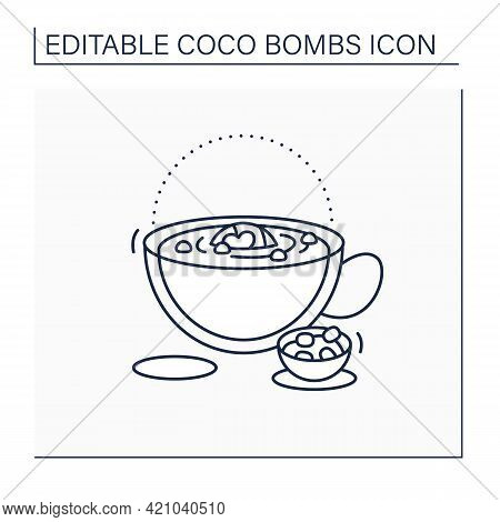 Coco Bomb Line Icon. Delicious Dessert. Cute Ball Of Chocolate With Marshmallows Filling Inside. Mel