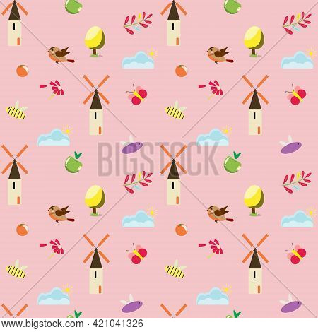 Seamless Pattern With Cute Girly Elements. For Textile, Paper, Packaging, Wrapping Paper, Book Cover
