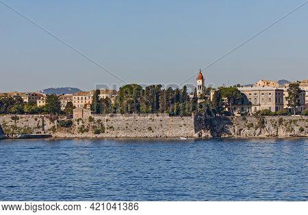 Waterfront Promenade By Venetian Fortress In Corfu Town Greece