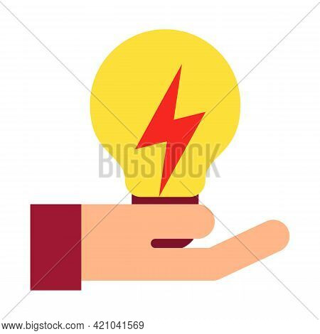 Vector Illustration Of Hand Raise Incandescent Light Bulb. Eco Energy Symbol. Ecological Friendly An