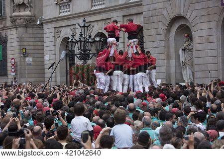 Barcelona, Spain, September 22 2019 - Castells Performance During Fiesta De La Merce. Symbol Of Unit