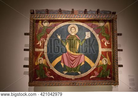 Barcelona, Spain, May 1, 2020 - Exhibits Of National Art Museum Of Catalonia. Ancient Icon Of Jesus