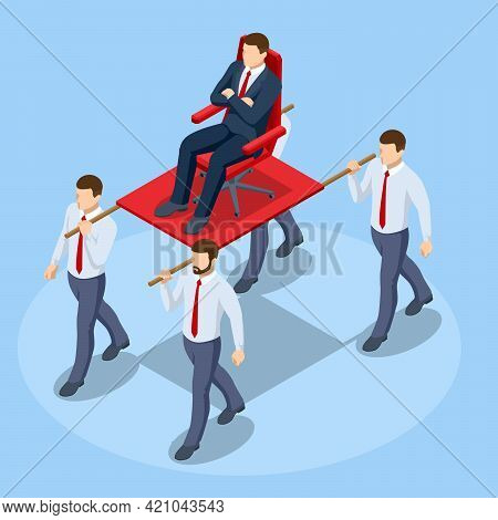 Isometric Concept Of Arrogance Or Bossy Manager Who Doesnt Listen To Subordinates Opinion. Arrogant