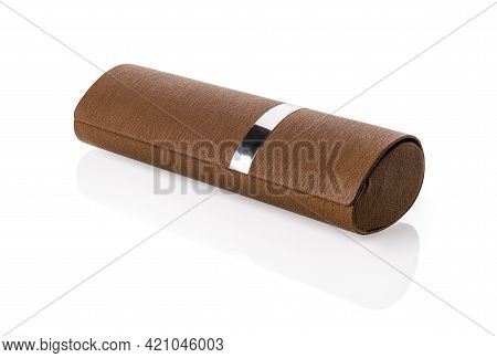Brown Case For Eyeglasses Isolated On White Background. Stylish Artificial Leather Glasses Case With